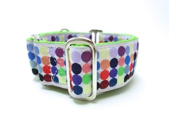 """Houndstown 1.5"""" Multi Dots Unlined Buckle or Martingale Collar, Any Size"""