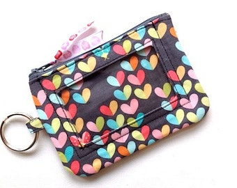 ID Keychain Wallet/ID Wallet/Student ID Holder/Card Case/Card Wallet/Coin Case/Change Purse/Zipper Pouch/Keychain Pouch/Hearts Gray