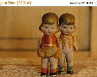 ON SALE Antique Doll Pair, Unique Collectible Dolls, Jointed Bisque Dolls, Made in Japan, Vintage Toy Dolls, Toys & Games, Dolls, Silk Dress