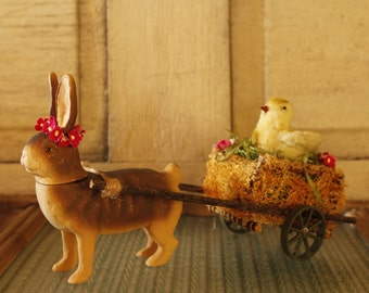 Spring Decor Easter Bunny, Spring Chick and Cart Vintage Reproduction of an Antique Rabbit Candy Holder Spring Decor Eggs and Flowers
