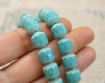 66pcs 6mm Round Cathedral Beads Czech Glass Turquoise Blue And White
