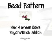 Pink & Green Bows, Seed Bead Patterns, Brick Stitch Peyote Stitch   DIGITAL DOWNLOAD