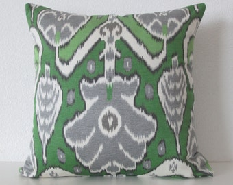 Market Marvel Fern vibrant bright green gray ikat decorative pillow cover