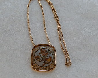 Damascene Necklace, Vintage Necklace, Bird Necklace,  Reed and Barton, Gift for Her