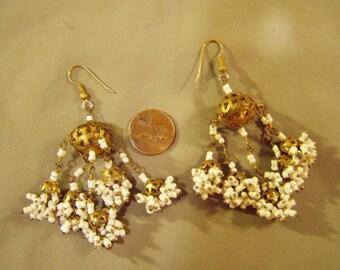 Vintage 1970s Chandelier Style Drop Dangle Pierced Earrings White Glass Seed Beads & Brass 8685
