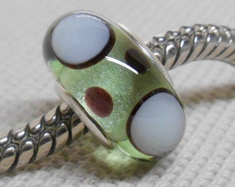 Handmade Lampwork Bead Silver Cored Glass Charm Bead Transparent Green with Black and Green Dots