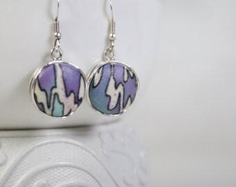Dangle Earrings, Silver Dangle Drop Earrings, Minimalist Mint and Purple Dangle Earrings, Gift for Her.