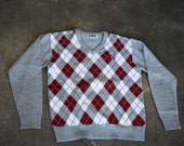Vintage FRED PERRY Mens Knit Sweater Grey with Red Argyle Front Logo Crest size M