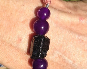 BLACK TOURMALINE, Amethyst Stone Ultimate PROTECTION Bracelet - Adjustable- Vintage Grograin Tie