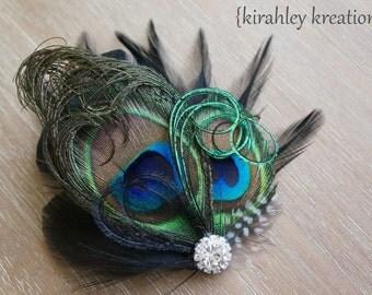 ADRIENNE Hair Clip Natural Peacock Black Guinea Feather Wedding Fascinator Rhinestone Bride Bridesmaid Flower Girl Prom Headpiece Hairpiece