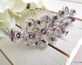 Purple Swarovski Crystal and Pearl Wedding Comb,Wedding Hair Accessories,Vintage Style Flower and Leaf Rhinestone Bridal Hair Comb,MARCY