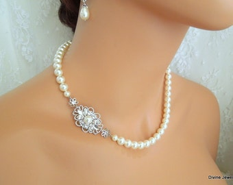 ivory swarovski pearl and crystal necklace Statement Bridal necklace Wedding Rhinestone necklace swarovski crystal and pearl necklace DINA