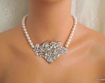 Pearl Necklace Bridal crystal Necklace vintage inspired pearl bridal Pearl Rhinestone Necklace Pearl Bridal Necklace Statement Necklace ROSE