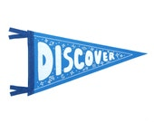 Discover Pennant Flag, Wall Hanging, Screenprinted Flag, Children Room Decor, Science Room Decor, Printed Banner, School Flag, Camp