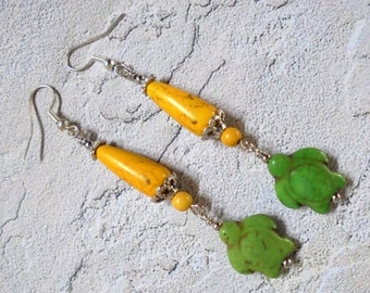 Yellow and Green Turtle Earrings (2642)
