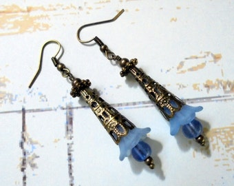 Light Blue and Brass Flower Earrings (2844)