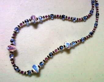 Navy Blue, Black and Purple Necklace (0876)