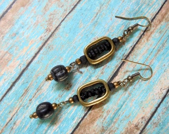 Black and Brass Ethnic Inspried Earrings (2367)