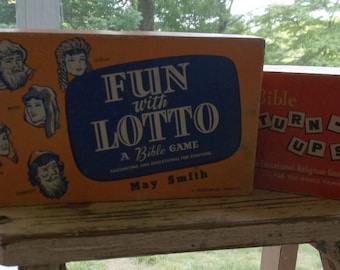 Vintage Pair of Bible Games Fun with Lotto and Bible Turn-Ups 1959 and 1955
