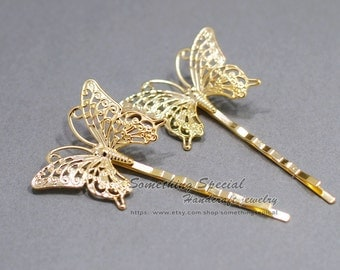 Butterfly hair pin Butterfly hair clip Gold Butterfly Hair clip Natural Woodland wedding Bridal Hair Accssories Bridesmaid Gift for her