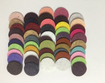 Wool Felt Circles 50 - 3/4 inch Random Colored 3474 - felted circle - circle die cut - headband supplies