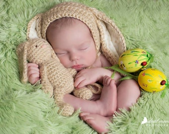 Baby Bunny Newborn Bonnet/ Newborn Bunny Hat and Lovey/Baby Girl Prop/ Baby Boy Prop/ Crochet Bunny Bonnet/