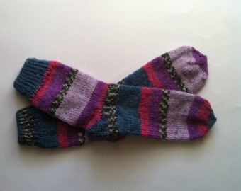 Hand Knit Soft And Warm Women's Alpaca Socks, Size 8 - 8.5  (9.5 inches length), Boot Socks, Striped Socks, Colorful Let Warmers, Knit Socks
