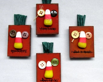 Whimsical Halloween Primitive Pumpkin Magnet, Tole Painted, Sold in a Set of Two, Orange Pumpkin Magnet, Primitive Orange Pumpkin, Whimsical