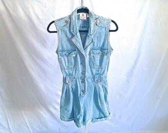 Vintage 90's Denim Romper Button-Down Romper with Silver Hardware Women's Small