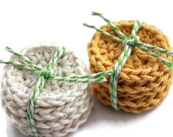 Crochet Face Scrubs in Gold and Cream - Mini Face Scrubs - 10 Small Cotton Rounds