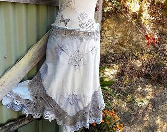 "dreamy gypsy dusty blue embroidered skirt, boho hippy, up to 35.5"" waist"