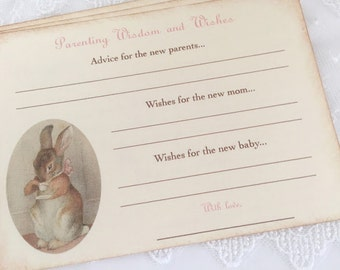 Parenting Advice Cards Baby Shower Activity Game Cards Baby Wishes Bunny Tea Party