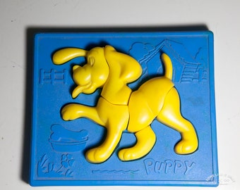 Vintage Plastic Yellow Puppy Puzzle for toddlers