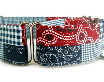 Red White & Blue American Patchwork Martingale Dog Collar - 1.5 inch width
