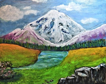 Mountain Landscape, 16x20 Painting, Original Painting, Acrylic
