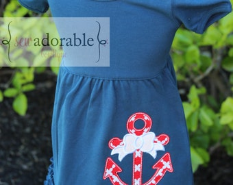 Navy and Red Anchor Appliqued Ruffle Dress for Girls. FREE MONOGRAMMING. Great for you Summer Vacation Pictures at the Beach