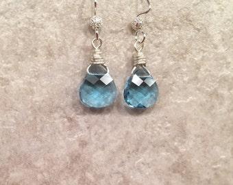 Earrings gorgeous crystal blue Swarovski  Aquamarine stones feminine pretty classic day to evening wear Simplicity making a Statement