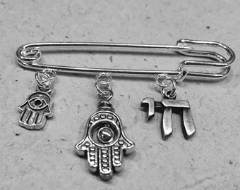 Chamsa hand of God Protection Symbol Baby Crib or Stroller CHAI Hebrew for Life charm Unique one of a kind gift for new Mother