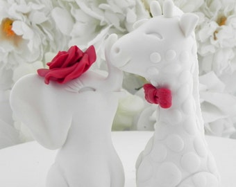 Wedding Cake Topper, Elephant and Giraffe, Red and White, Mix and Match, Bride and Groom Keepsake, Fully Custom