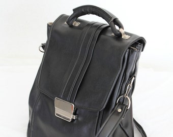 9-5, Vintage, 1970s Black Leather Satchel Handbag from Paris