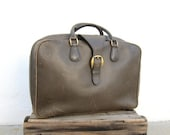 RESERVED 30% Off SALE SALE Vintage Large Rugged Distressed Olive Green Italian Leather Suitcase