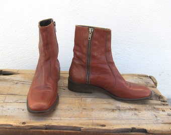 90s Cognac Ankle Chelsea Beetle Boots Made In Italy Ladies Size 5.5
