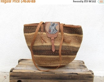 15% Off Out Of Town SALE Large Straw African Tote Raffia Ethnic Bucket Sisal Market Basket Bag w/Zebra