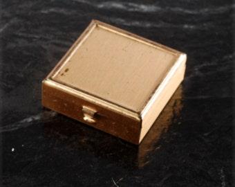 Vintage Trinket Box Brass Tone Metal Damaged Finish Square Accessory DIY Repurpose