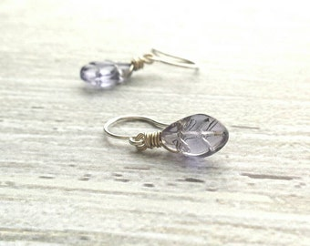 Glass Leaf Earring - little colorful silver wire wrapped leaves in pale sage green - periwinkle blue - bright aqua - purple amethyst