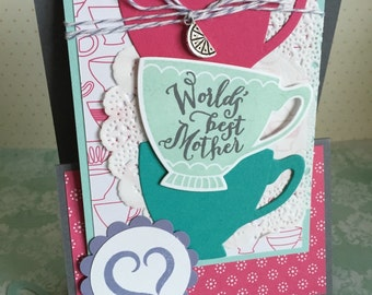 World's Best Mother - Handmade Mother's Day Card - Holds Gift Card or Tea Bag