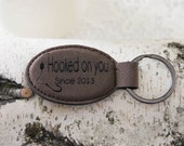 Leather Personalized  Key Holder, Custom Key Ring, Engraved Custom Key Chain, Fishing Theme Key Ring, Hooked On You