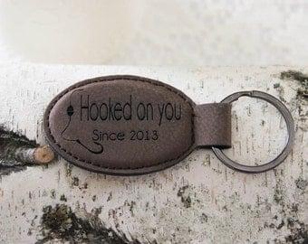Leather Personalized  Key Holder, Custom Key Ring, Engraved Custom Key Chain, Fishing Theme Key Ring, Hooked On You