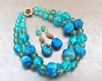 vintage blue bead jewelry set - 1950s 14k gold/blue bead necklace & earrings set