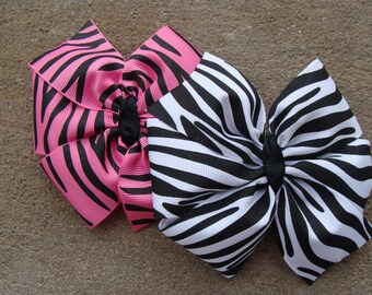 Zebra hair bow Large Pink and Zebra Prints Pinwheel Hair Bow zebra bows